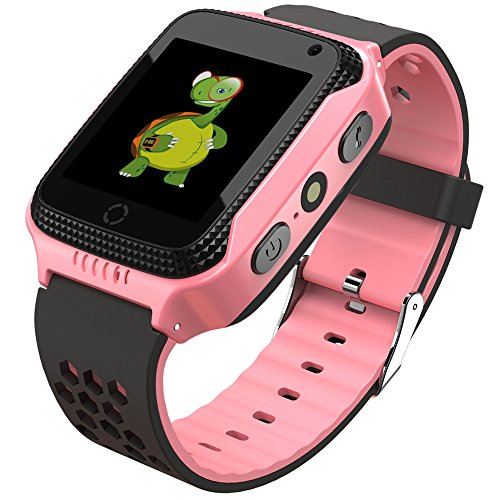 Smart Watch for Kids - Smart Watches for Boys Smartwatch GPS Tracker Watch Wrist Android Mobile Camera Cell Phone Best Gift for Girls Children boy Pink Blue Yellow (Pink)
