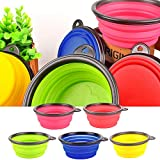 Voberry- Pet Collapsible Bowl Dog Cat Feed Food Fold Bowl Cup Dish Feeder Drinking Water Portable Supplies Travel Camping Bowl