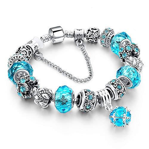 (Long Way Blue Beads Carved Bracelet Sliver Plated Snake Chain Charm Strand Bracelet For Women&Men (Silver-blue))