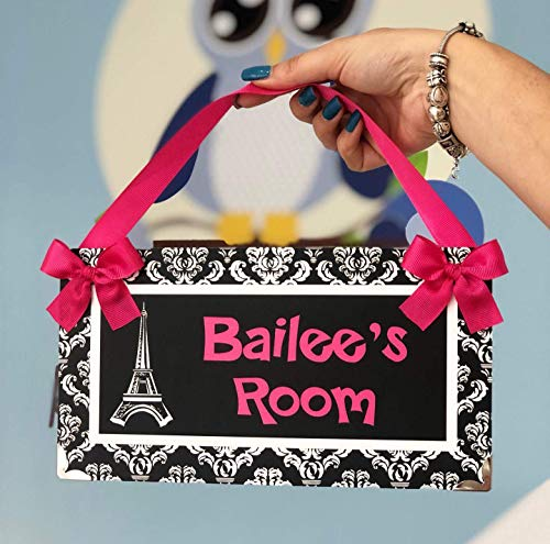 Personalized Eiffel Tower Paris Themed Teenagers Bedroom Door Plaque, Hot Pink with White Damask Pattern (Teenagers Bedroom Paris Themed For)