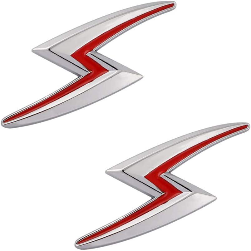 New 2x S Lightning Car Emblem For JDM Styling Hood Trunk Lid Metal Logo Badge Sticker Red