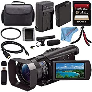 Sony HDR-CX900 HDRCX900/B Full HD Handycam Camcorder (Black) + Rechargable Li-Ion Battery + Charger + Sony 64GB SDXC Card + Case + Tripod + HDMI Cable + Card Wallet + Card Reader + Fibercloth Bundle
