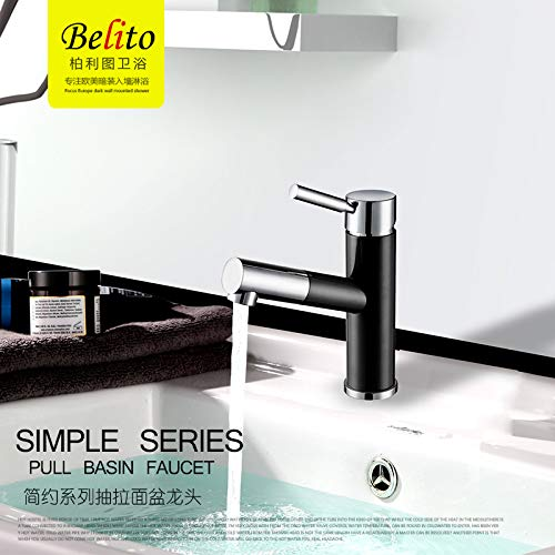 4 Black (Short Paragraph Decorry All Copper Pull-Out Faucet Cold Handwashing Basin Wash Basin Hole Basin Mixer May Be Telescopic, Chrome 2 (Short Paragraph