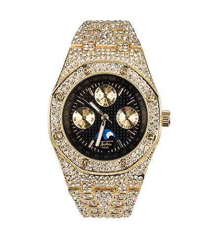 Bling-ed Out Men's Gold CZ Watch with Simulated Chronograph Dial | Japan Movement | Simulated Lab Diamonds | Black Dial ()
