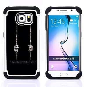/Skull Market/ - Man Black For Samsung Galaxy S6 G9200 - 3in1 h????brido prueba de choques de impacto resistente goma Combo pesada cubierta de la caja protec -