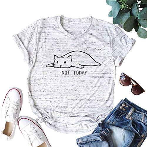 ZJP Women Short Sleeve Cat Print Tee Overthinking and Also Hungry T-Shirt Tops (US S, Light Grey) Cat Womens Light T-shirt