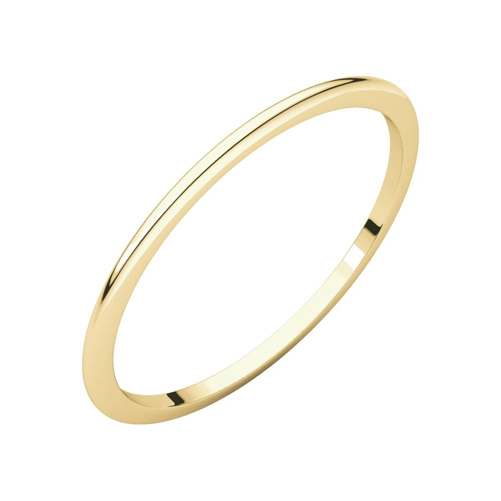 Jewels By Lux 18K Yellow Gold 1mm Half Round Wedding Ring Band