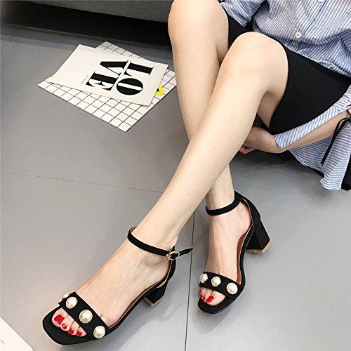 Mot Perles Avec Black D'été Femme Grossier Zhudj Sandales Boucle Chaussures gSfnt