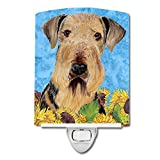 Caroline's Treasures Airedale in Summer Flowers Night Light, 6'' x 4'', Multicolor