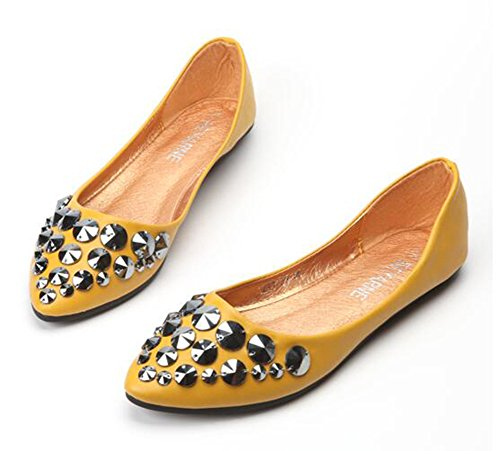 Showhow Mujeres Chic Studded Ballet Flats Punta Estrecha Low Top Slip On Mocasines Zapatos Amarillo