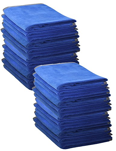 Ultraplush Premium Microfiber Towels by Detailer 365 | 400 GSM Thread Count for Ultra Smooth Polishing and Drying | Super Absorbent with Silk Lined Border (24 Pack, Blue 16