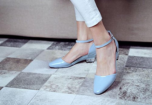 Buckle New Strap Thick Color Ankle Women Toe Autumn Pointed Heel Leather Shoes Solid Blue Patent Pump D'orsay Court wqpwI8Fx7