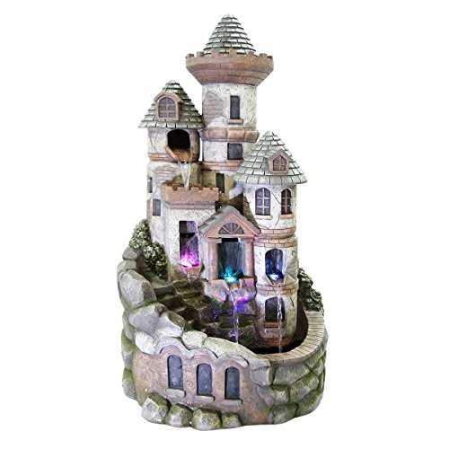 Alpine Corporation Tower Castle Fountain with LED - Towers Castle Shops