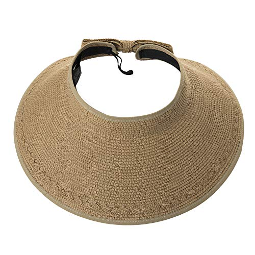 (Womens Ladies Summer Beach Fashion Back Visors Roll Up Floppy Ponytail Sun Protection Open Top Straw Bow Hats Khaki)