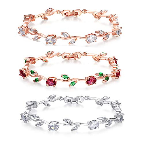 18k Rose Gold Plated Sterling Silver Diamond Two-Tone Gemstone Tennis Bracelet Diamond Bangle Bracelet for Women (3PC Bracelet)