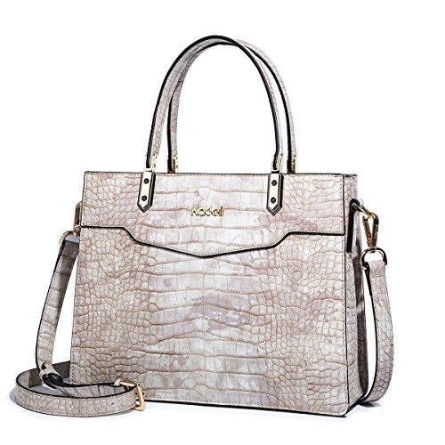 Beige Embossed Handbag - Kadell Ladies Top Handle Tote Bag for Women Crocodile Embossed Purses and Handbags Beige