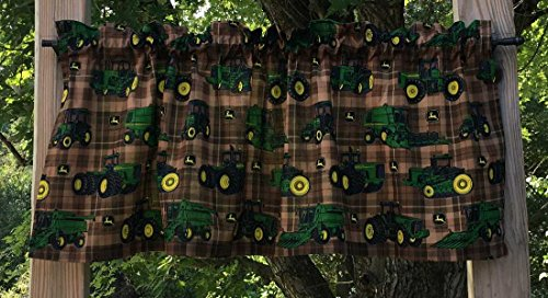 John Deere Drapes (Handcrafted Curtain Valance Sewn From John Deere Green Farm Tractor Brown Plaid Cotton Fabric)