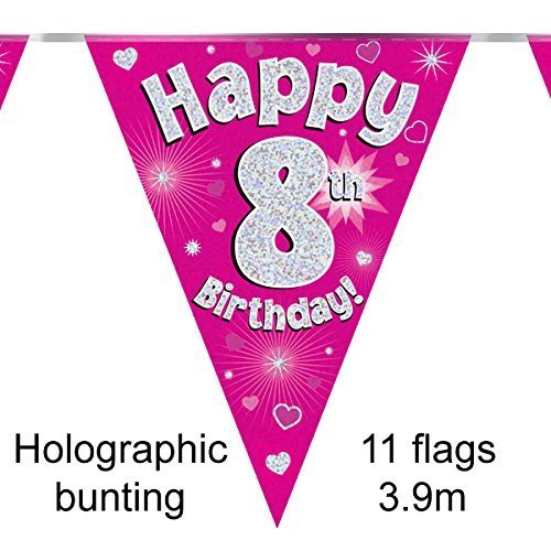 Happy 8th Birthday Pink Holographic Foil Party Bunting 3.9m Long 11 Flags Oaktree
