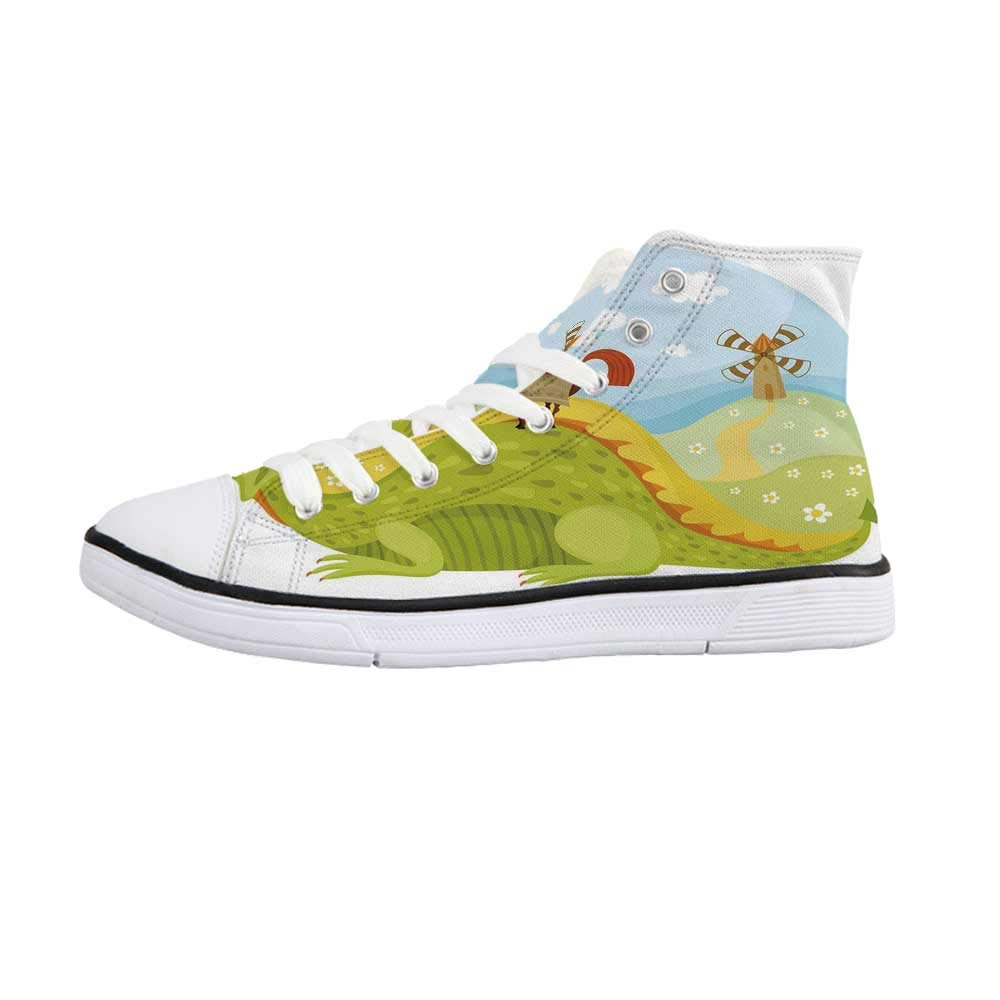 Fantasy Comfortable High Top Canvas ShoesCreative Girl Reading with Medieval Castle Butterfly Roses Bird Dream World Print for Women Girls,US 5