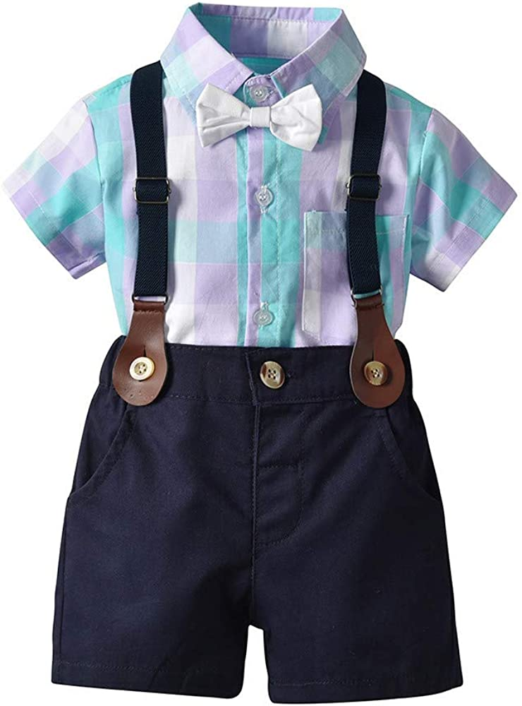 Moyikiss Studio Summer Baby Boys Gentleman Long Sleeve White Bow Tie Shirt and Shorts Outfits Set