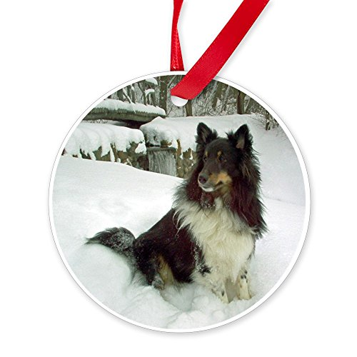 Shetland Sheepdog Christmas Ornament (CafePress - Winter Falls Sheltie Ornament (Round) - Round Christmas Ornament)