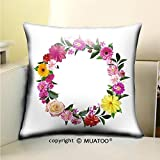 PleayeL Soft Canvas Throw Pillow Covers Cases for Couch Sofa -Frame Made from Summer Pink Flowers and Green Leaves Isolated on White Background Natural Photo Print 20x 20(50 x 50 cm)