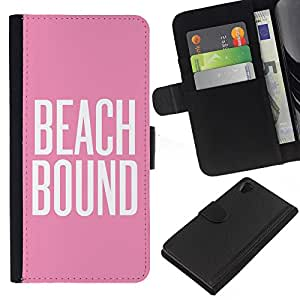 [Neutron-Star] Modelo colorido cuero de la carpeta del tirón del caso cubierta piel Holster Funda protecció Para Sony Xperia Z2 D6502 [Beach Bound Pink White Text Summer]