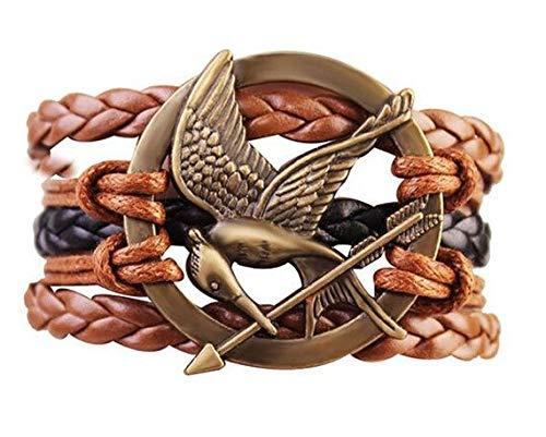 Hunger Games Mocking Jay Bird Braided Bracelet - Brown and Black (Hunger Games Bracelet)