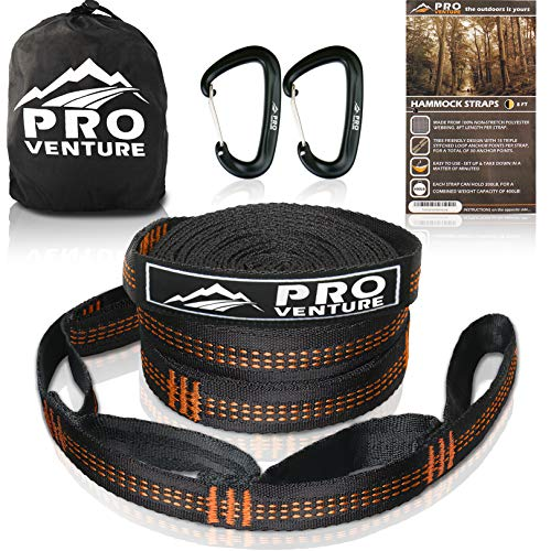 Hammock Tree Straps - Pro Hammock Tree Straps with CARABINERS - 400LB Rated (1200LB Tested), Adjustable 30+2 Loops, Non-Stretch, Easy Setup, Heavy Duty, Tree Friendly