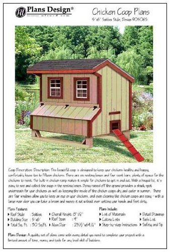 Hen House Designs (5'x6' Chicken Coop / Hen House Plans, Saltbox Roof Style (How to build a backyard chicken coop, design # 90506S))