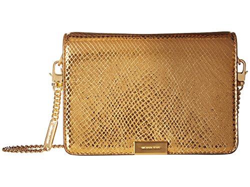 Michael Kors Jade Medium Gusset Snake Skin Embossed Leather Clutch Crossbody Handbag in Gold