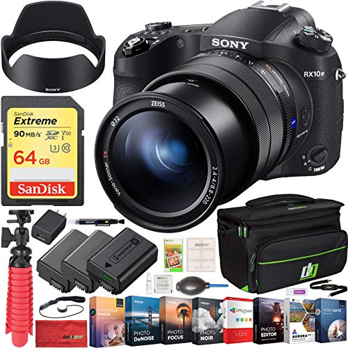 Sony Cyber-Shot RX10M IV Mirrorless 20.1 MP 4K Video Camera with Lens DSC-RX10M4 ZEISS 24-600mm Bundle with Triple Battery + Deco Gear Case + 64GB + Compact Tripod Accessory Kit and Software