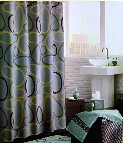 (Luxury Fabric Shower Curtain With Shower Hooks, Green Swirl, 70