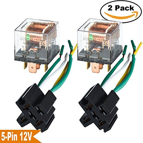 - Ehdis [2 Set] Car Truck Motor Relay Socket with Connector Heavy Duty 12V 60A SPDT Waterproof Seal Transparent Case 5 Pin 5 Wire JD2914
