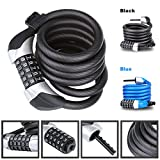 Heavy Duty Bike Lock Chain Lock with 5-Digit Resettable Number Combination Cable Lock For Bicycle, Scooter, Grills & Other Items That Need To Be Secured - Blusmart
