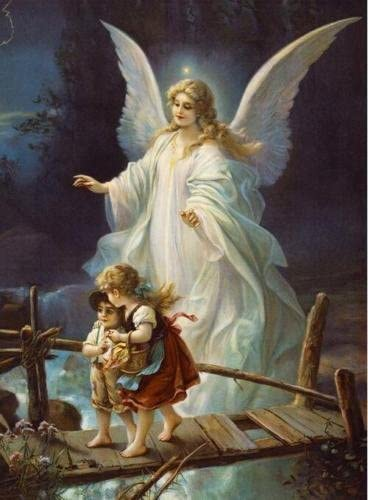 Hand Painted Bridge Guardian Angel Protect Siblings Canvas Oil Painting