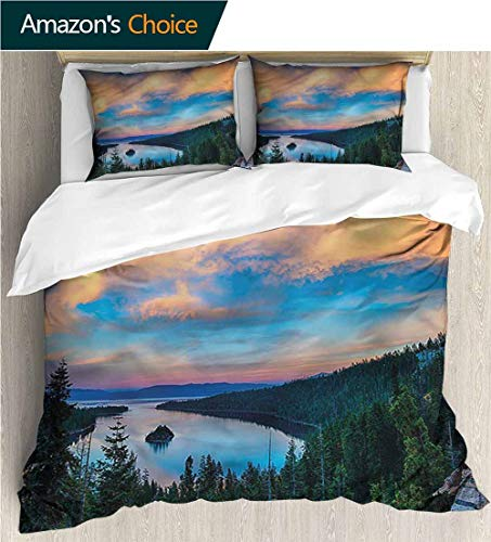 carmaxs-home Modern Pattern Printed Duvet Cover,Box Stitched,Soft,Breathable,Hypoallergenic,Fade Resistant 100% Cotton Beding Linens for Kids Children-Lake Tahoe Sundown in The Woods (104
