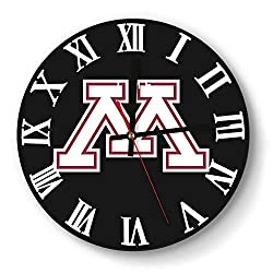 LMQI Wall Clock Simple Minnesota-Golden-Gophers-Football-White- Style Silent Digital Clock for Home