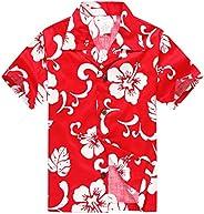 Boy Hawaiian Aloha Luau Shirt and Shorts 2 Piece Cabana Set in Red Hibiscus