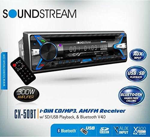 Soundstream CX50BT Car CD MP3 Player USB AUX SD Card Inputs Single DIN Stereo Receiver with Built-in Bluetooth V4.0 Hands-Free Calling Music Streaming AM FM Radio Remote Control Detachable Faceplate