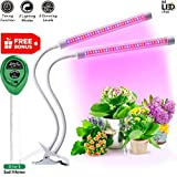 Plant Lights for Indoor Plants -, Plant Light with 64 Full Spectrum LED, Adjustable Dual Head Gooseneck Growing Lamps with Stand, 5 Dimmable Levels 3/9/12H Timer by Jasius   Review