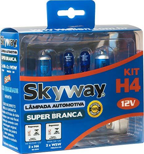 KIT Skyway Lâmpada Automotiva Super Branca - Modelo H4 + W5W - 12V - 4200K - 4 Conjuntos