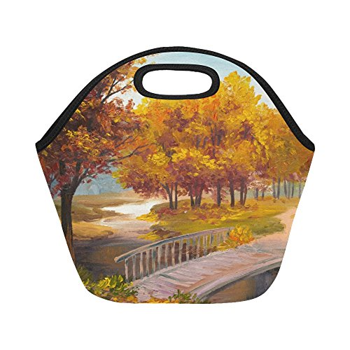 InterestPrint Insulated Lunch Tote Bag Autumn Forest Bridge Reusable Neoprene Cooler, Autumn Tree Scenery Portable Lunchbox Handbag for Men Women Adult Kids Boys Girls