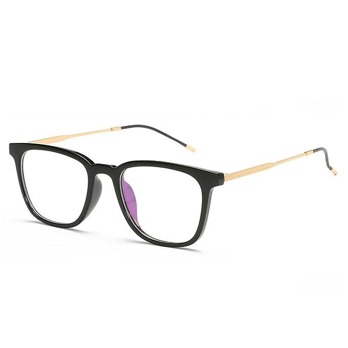 bfe28ac27ba D.King Casual Fashion Horned Rim Rectangular Frame Clear Lens Eye Glasses  Black-Gold