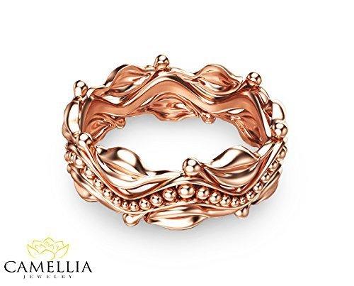 Leaf Design Rose Gold Wedding Ring 14k Rose Gold Wedding Band Commitment Ring