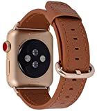 Apple Watch Band 38mm Women - PEAK ZHANG Light Brown Genuine Leather Replacement Wrist Strap with Gold Adapter and Buckle for iWatch Series 3/ 2/ 1/Edition/Sport