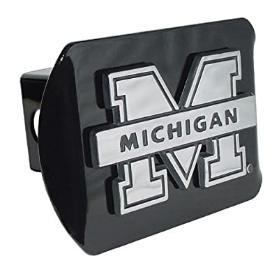 """Elektroplate Michigan Wolverines Black Metal Trailer Hitch Cover Chrome Metal with NCAA Logo Fits 2"""" Receivers: Sports & Outdoors"""