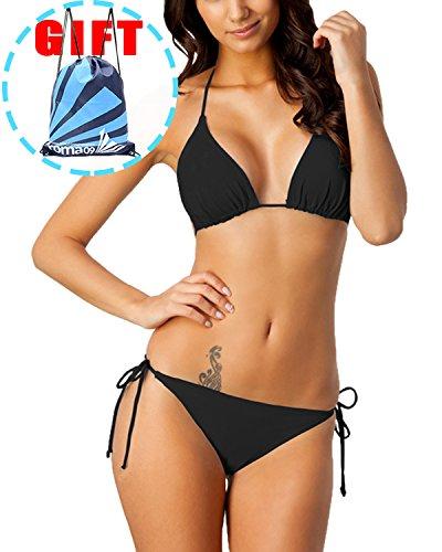 Garlagy Women's Two Piece Swimsuits Triangle Tie Side Bikini Sets Swimwear Halter Athletic Bathing Suits Top Bottom (US 10-12(Tag XL), 1-Black) -