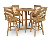 Windsor's Premium Grade A Teak Nassau 39'' Round Dropleaf Bar Table w/4 St Moritz Swivel Bar Arm Chairs, World's Best Outdoor Furniture! Teak Lasts A Lifetime!