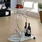 wine and liquor cart - Wildon Home Whisper Serving Cart Trolley Tea Bar Contemporary Style Two Frosted Glass Shelves Drink Liquor Rolling Rack Beverage Wine Tray